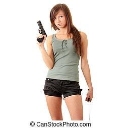 女の子, 保有物, 黒い銃, 美しい