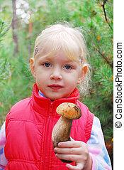 女の子, 保有物, boletus., 森林, きのこ