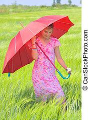 女の子, 傘