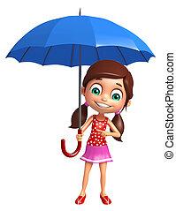 女の子, 傘, 子供
