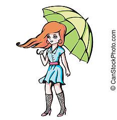 女の子, 傘, 若い