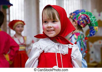 女の子, 入り込まれる, 人形