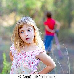 女の子, 公園, ブロンド, 森林, 子供