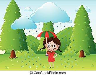 女の子, 公園, 現場, 雨