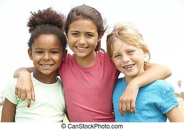女の子, 公園, 遊び, 若い
