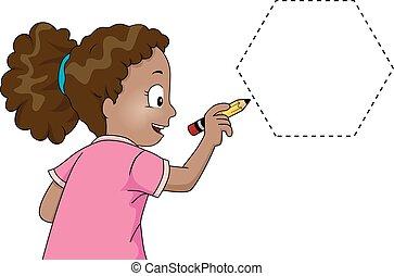 女の子, 六角形, 跡, 子供