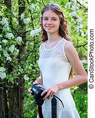 女の子, 写真, 開くこと, 木。
