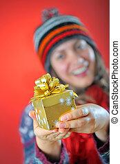 女の子, 冬, 贈り物