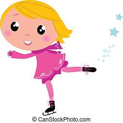 女の子, 冬, 隔離された, かわいい, アイススケート, 白