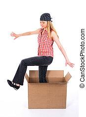 女の子, 出かけること, の, 箱