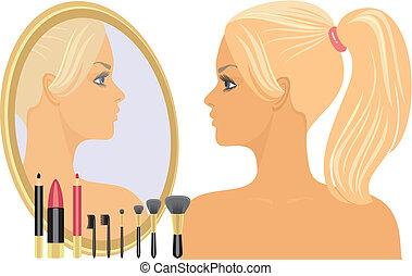 女の子, 前に, a, 鏡