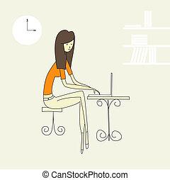 女の子, 労働者のオフィス