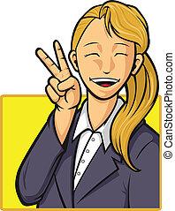 女の子, 労働者, 漫画, オフィス, 幸せ