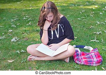 女の子, 勉強, 屋外で