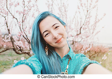 女の子, 取得, selfie, 中に, 春, garden.