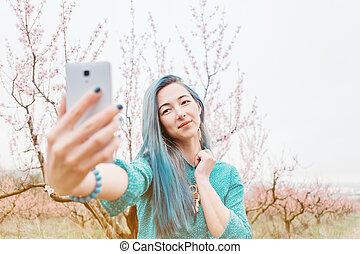 女の子, 取得, selfie, 中に, 開くこと, garden.