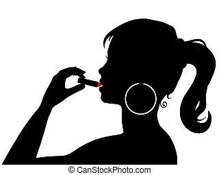女の子, 口紅を用いる