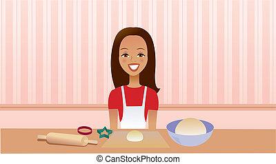 女の子, 台所