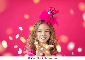 女の子, 吹く, 空想, に対して, ピンク, bakground, 紙ふぶき