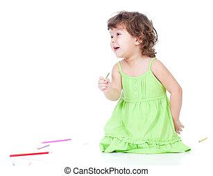 女の子, 図画, ∥で∥, 色, 鉛筆