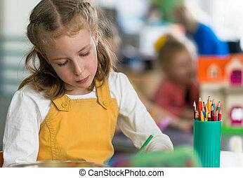 女の子, 図画, ∥で∥, 鉛筆, 中に, kindergarten.