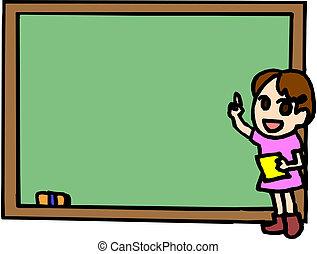 女の子, 図画, 黒板