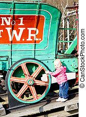 女の子, 地位, ∥において∥, 蒸気, 機関車, 山, ワシントン, コグ, 鉄道, bretton, 森,...