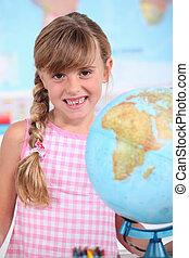 女の子, 地球, 学校
