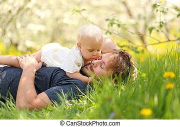 女の子, 外, 父, 赤ん坊, 愛情をこめて, 見る, 間