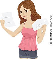 女の子, 大学, 手紙
