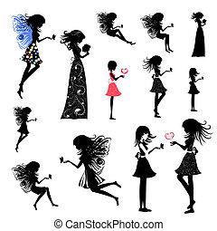 女の子, 妖精, セット