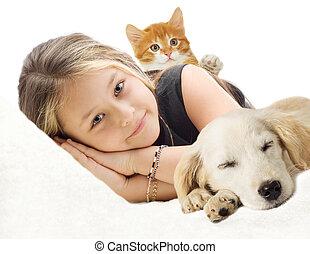 女の子, 子ネコ, 子犬