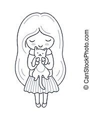 女の子, 子ネコ, 葉書, イラスト, カード, hands., 本, ベクトル, 着色, 彼女, 印刷, tattoo.