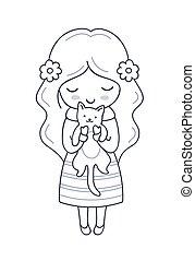 女の子, 子ネコ, 葉書, イラスト, カード, hands., 本, poster., ベクトル, 着色, 彼女, 印刷