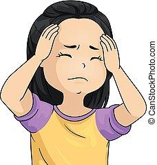 女の子, 子供, イラスト, 頭痛