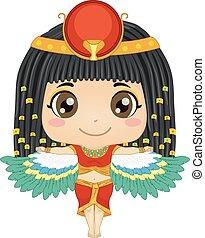 女の子, 子供, イラスト, isis, エジプトの女神