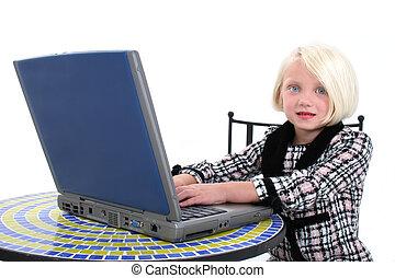 女の子, 子供, コンピュータ
