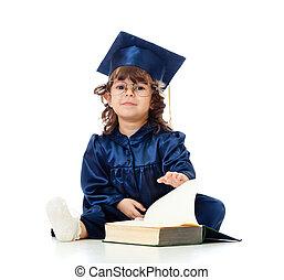 女の子, 子供, 中に, academician, 衣服, ∥で∥, 本