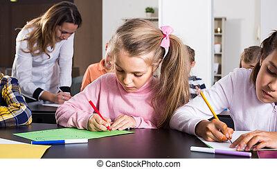 女の子, 子供, 図画, 年齢, 基本, レッスン