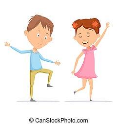 女の子, 子供, 子供, 男の子, ダンス