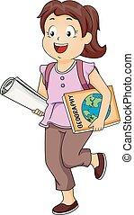 女の子, 子供, 学生, イラスト地理