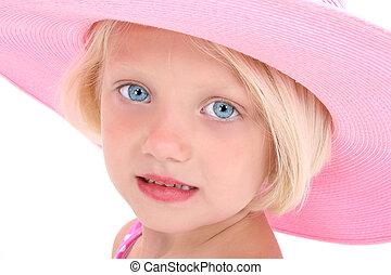 女の子, 子供, 帽子, ピンク