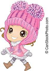 女の子, 子供, 帽子, 冬, かぎ針で編み物をしなさい