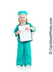 女の子, 子供, 愛らしい, uniformed, 医者