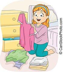 女の子, 子供, 折りたたみ, ワイシャツ, 衣服