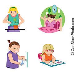女の子, 子供, 活動