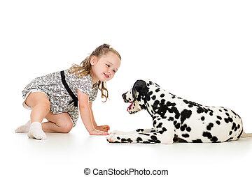 女の子, 子供, 犬, 遊び