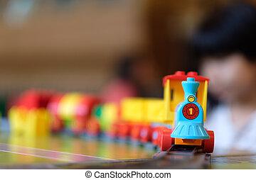 女の子, 子供, 遊び, ∥で∥, 列車, おもちゃ