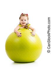女の子, 子供, 隔離された, ボール, 楽しみ, 持つこと, 体操