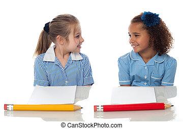 女の子, 学校, 検査, ホール